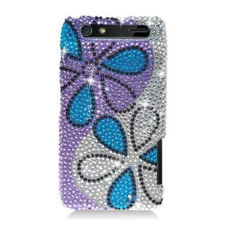 Insten Purple/ Blue Flowers Hard Snap-on Rhinestone Bling Case Cover For Motorola Droid Razr XT912