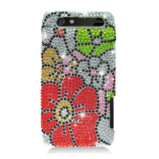 Insten Red/ Green Flowers Hard Snap-on Diamond Bling Case Cover For Motorola Droid Razr XT912