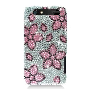 Insten Pink/ Silver Flowers Hard Snap-on Diamond Bling Case Cover For Motorola Droid Razr XT912