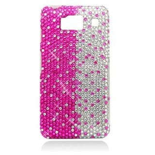 Insten Hot Pink/ Silver Hard Snap-on Diamond Bling Case Cover For Motorola Droid Razr HD XT926