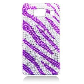 Insten Purple/ Silver Zebra Hard Snap-on Rhinestone Bling Case Cover For Motorola Droid Razr HD XT926
