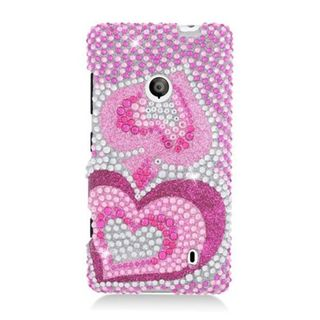 Insten Hot Pink Hearts Hard Snap-on Diamond Bling Case Cover For Nokia Lumia 521