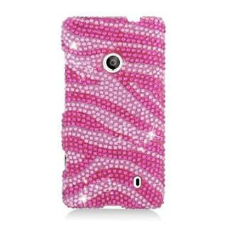 Insten Hot Pink/ Pink Zebra Hard Snap-on Diamond Bling Case Cover For Nokia Lumia 521