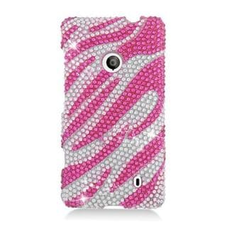 Insten Hot Pink/ Silver Zebra Hard Snap-on Diamond Bling Case Cover For Nokia Lumia 521