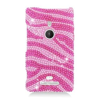 Insten Hot Pink/ Pink Zebra Hard Snap-on Diamond Bling Case Cover For Nokia Lumia 925