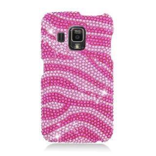 Insten Hot Pink/ Pink Zebra Hard Snap-on Diamond Bling Case Cover For Pantech Perception