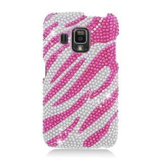 Insten Hot Pink/ Silver Zebra Hard Snap-on Diamond Bling Case Cover For Pantech Perception