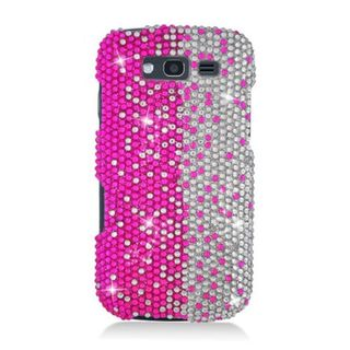 Insten Hot Pink/ Silver Hard Snap-on Rhinestone Bling Case Cover For Samsung Galaxy S Blaze 4G SGH-T769 (T-Mobile)