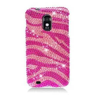 Insten Hot Pink/ Pink Zebra Hard Snap-on Rhinestone Bling Case Cover For Samsung Galaxy S2 Epic 4G Touch D710 Sprint