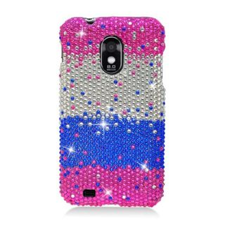 Insten Hot Pink/ Blue Hard Snap-on Rhinestone Bling Case Cover For Samsung Galaxy S2 Epic 4G Touch D710 Sprint