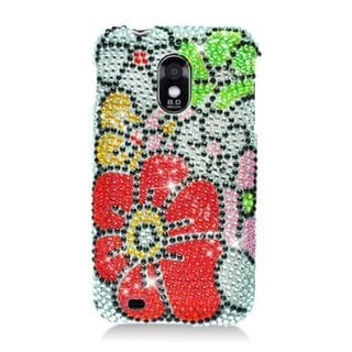 Insten Red/ Green Flowers Hard Snap-on Rhinestone Bling Case Cover For Samsung Galaxy S2 Epic 4G Touch D710 Sprint
