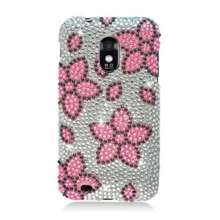 Insten Pink/ Silver Flowers Hard Snap-on Rhinestone Bling Case Cover For Samsung Galaxy S2 Epic 4G Touch D710 Sprint