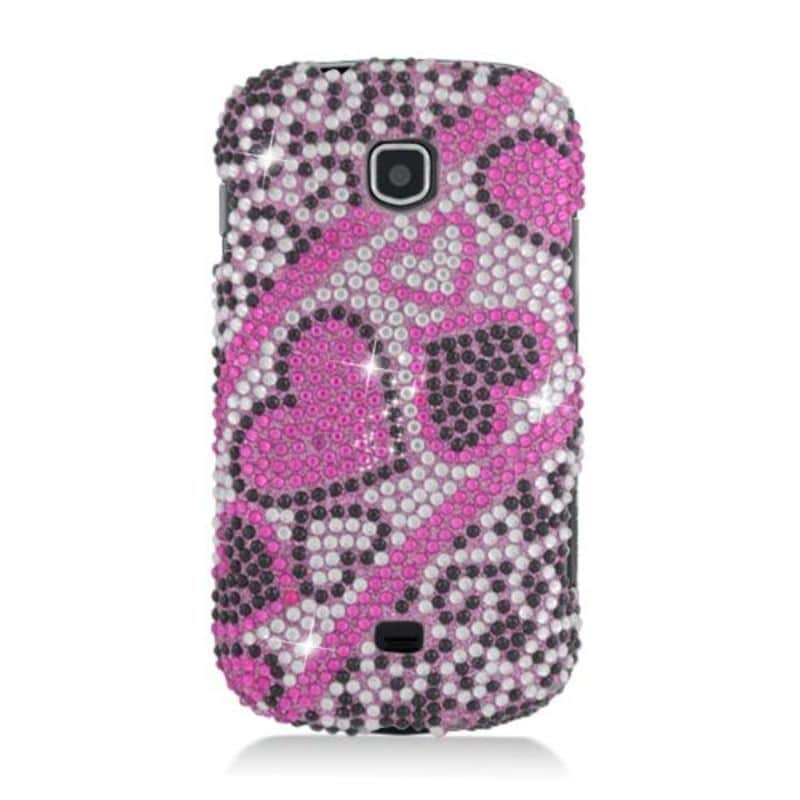 Insten Hot Pink Hearts Hard Snap-on Rhinestone Bling Case...