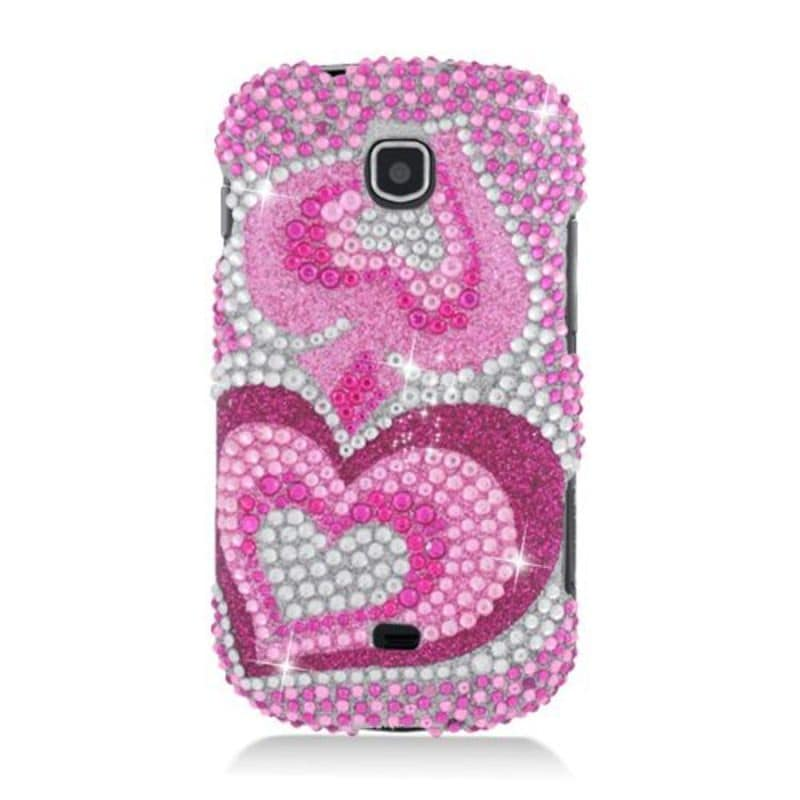 Insten Hot Pink Hearts Hard Snap-on Diamond Bling Case Co...
