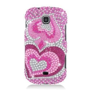Insten Hot Pink Hearts Hard Snap-on Diamond Bling Case Cover For Samsung Galaxy Stellar 4G I200