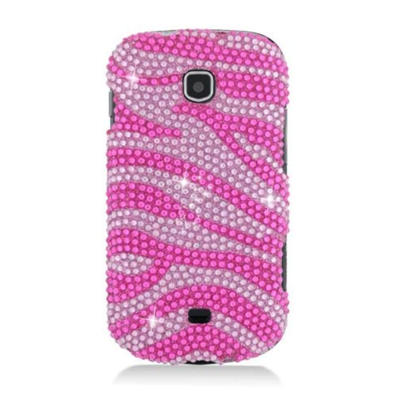 Insten Hot Pink/ Pink Zebra Hard Snap-on Diamond Bling Ca...