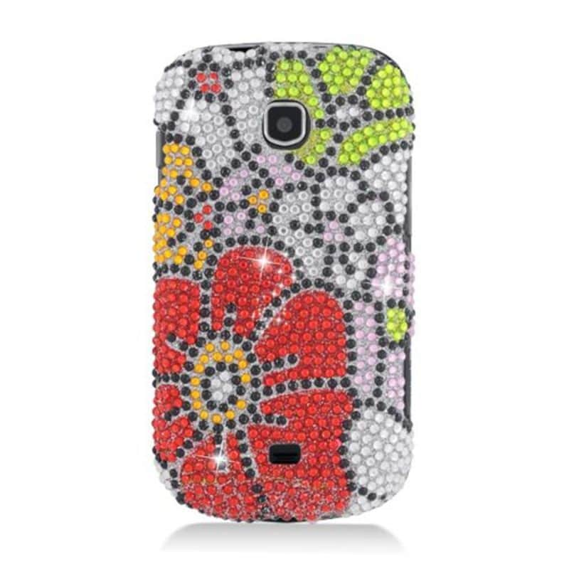 Insten Red/ Green Flowers Hard Snap-on Diamond Bling Case...