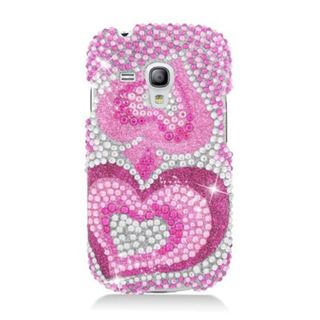Insten Hot Pink Hearts Hard Snap-on Diamond Bling Case Cover For Samsung Galaxy S3 Mini GT-I8190