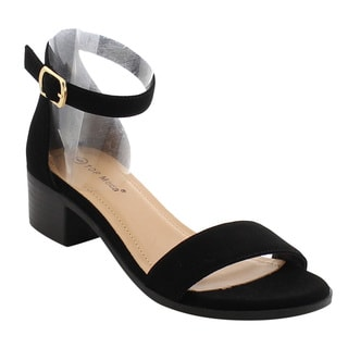 Top Moda EH47 Women's Single Ankle Strap Buckle Block Heel Sandals