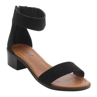 Top Moda EH45 Women's Single Ankle Strap Tassel Zipper Mid High Dress Sandals
