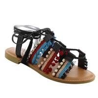 Top Moda EH42 Women's Braided Rhinestone Bohemian Lace Up Tassel Flat Sandals