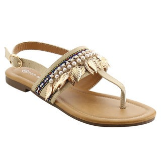 Top Moda EH39 Women's Thong Pearl Braided Leaf Decoration Sing Back Flat Sandals