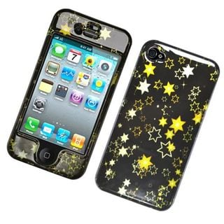 Insten Black/ Yellow Stars Hard Snap-on Glossy Case Cover For Apple iPhone 4/ 4S