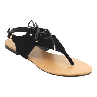 ANNA IE03 Women's Lace Up T-strap Stud Thong Flat Sandal