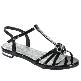 Forever IE60 Women's Rhinestone Caged T-strap Buckle Ankle Strap Flat Sandal