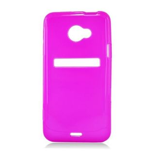 Insten Hot Pink Frosted TPU Rubber Candy Skin Case Cover For HTC EVO 4G LTE