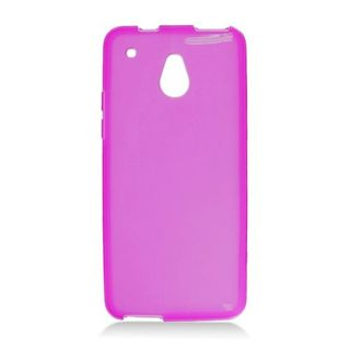 Insten Purple Frosted TPU Rubber Candy Skin Case Cover For HTC One Mini