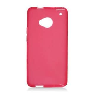 Insten Red Frosted TPU Rubber Candy Skin Case Cover For HTC One