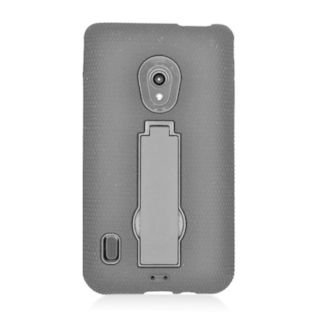 Insten Black Symbiosis Soft Silicone/ PC Rubber Case Cover with Stand For LG Lucid 2 VS870