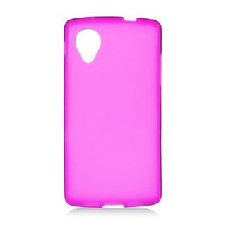 Insten Hot Pink Frosted TPU Rubber Candy Skin Case Cover For LG Google Nexus 5 D820