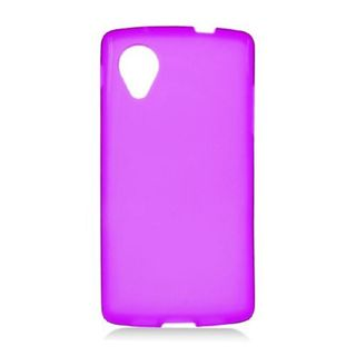 Insten Purple Frosted TPU Rubber Candy Skin Case Cover For LG Google Nexus 5 D820