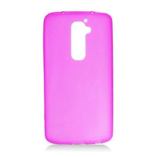 Insten Hot Pink Frosted TPU Rubber Candy Skin Case Cover For LG G2 LS980 Sprint