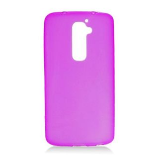 Insten Purple Frosted TPU Rubber Candy Skin Case Cover For LG G2 LS980 Sprint