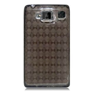 Insten Smoke Clear Checker TPU Rubber Candy Skin Case Cover For Motorola Droid Razr Maxx HD