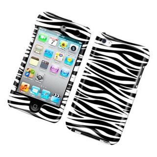 Insten White/ Black Zebra Hard Snap-on Glossy Case Cover For Apple iPod Touch 4th Gen
