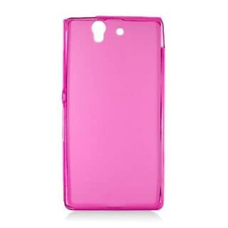 Insten Hot Pink Frosted TPU Rubber Candy Skin Case Cover For Sony Xperia Z