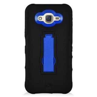 Insten Black/ Blue Symbiosis Soft Silicone/ PC Rubber Case Cover with Stand For Samsung Galaxy J7 (2016)