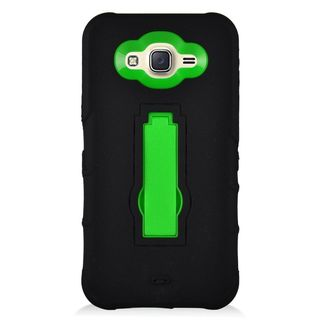 Insten Black/ Green Symbiosis Soft Silicone/ PC Rubber Case Cover with Stand For Samsung Galaxy J7 (2016)