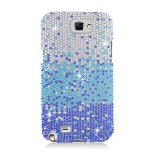 Insten Blue/ Silver Waterfall Hard Snap-on Diamond Bling Case Cover For Samsung Galaxy Note II