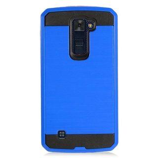 Insten Blue/ Black Chrome Hard Plastic Dual Layer Hybrid Brushed Case Cover For LG K10 (2016) K420N