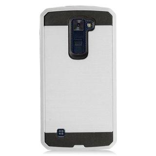 Insten Silver/ Black Chrome Hard Plastic Dual Layer Hybrid Brushed Case Cover For LG K10 (2016) K420N