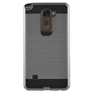 Insten Gray/ Black Chrome Hard Plastic Dual Layer Hybrid Brushed Case Cover For LG Stylo 2/ Stylus 2