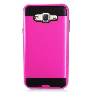 Insten Hot Pink/ Black Chrome Hard Plastic Dual Layer Hybrid Brushed Case Cover For Samsung Galaxy J7 (2015)