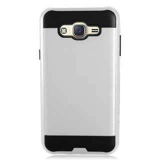 Insten Silver/ Black Chrome Hard Plastic Dual Layer Hybrid Brushed Case Cover For Samsung Galaxy J7 (2015)