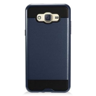 Insten Blue/ Black Chrome Hard Plastic Dual Layer Hybrid Brushed Case Cover For Samsung Galaxy J7 (2016)