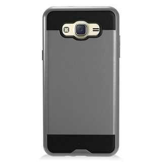 Insten Gray/ Black Chrome Hard Plastic Dual Layer Hybrid Brushed Case Cover For Samsung Galaxy J7 (2016)